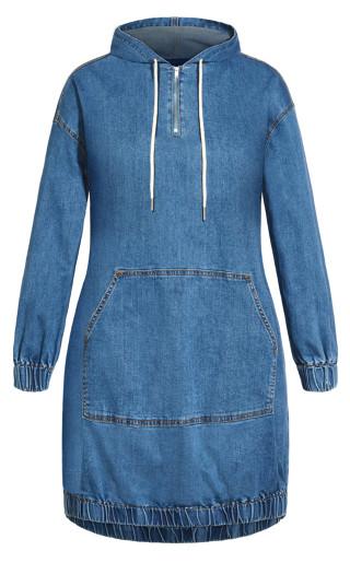 Denim Hoodie Dress - light wash