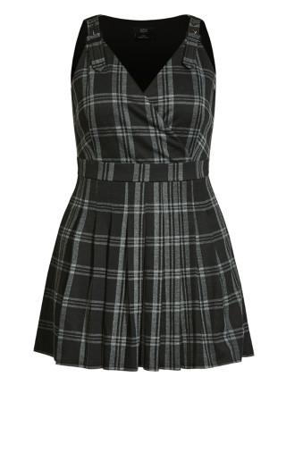Pinafore Check Dress - black