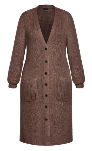 Longline Button Cardigan - mocha