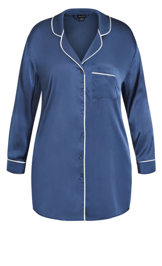 Nora Satin Longline Shirt - dusty blue