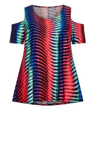 Cold Shoulder Print Top - multi stripe
