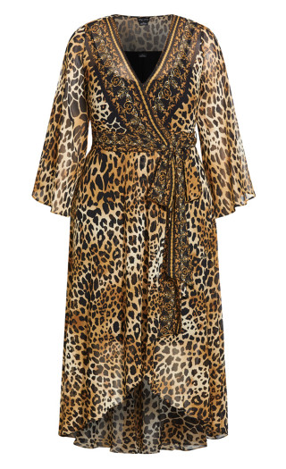 Leopard Evoke Maxi Dress - gold