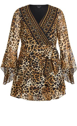 Leopard Evoke Dress - gold