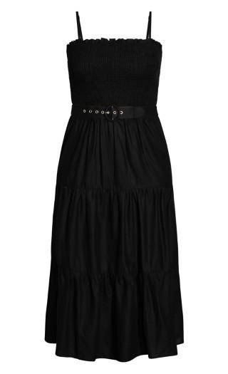 Shirred Sunset Maxi Dress - black