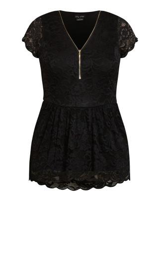 Lace Peplum Top - black