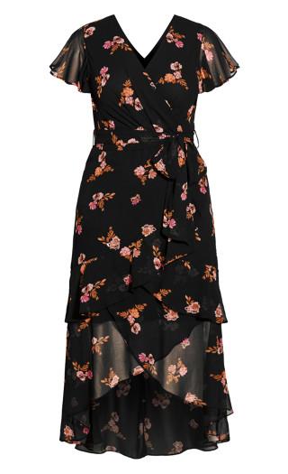 Falling Buds Maxi Dress - black