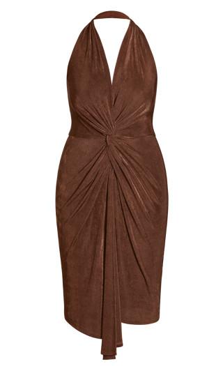 Halter Twist Dress - clove