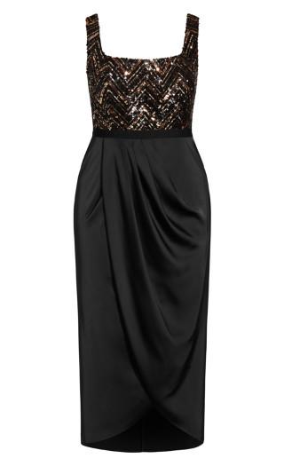 Sequin Bodice Dress - bronze