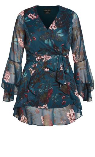 Floral Flutter Dress - teal