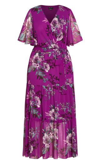 Magenta Floral Maxi Dress - magenta