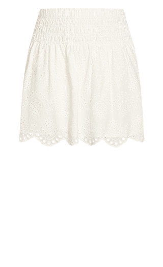 Shirred Waist Skirt - ivory