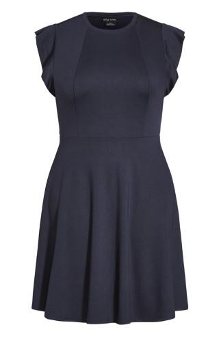 Frill Shoulder Dress - navy