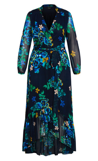 Midnight Pansy Maxi Dress - midnight