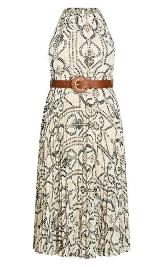 Halter Tile Dress - ivory