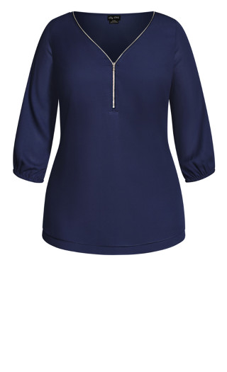 Sexy Fling Elbow Sleeve Top - navy