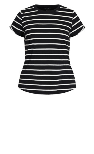 Stripe Boyfriend Tee - black