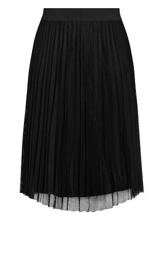 Mesh Pleat Skirt - black