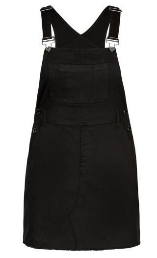 Denim Bib Dress - black