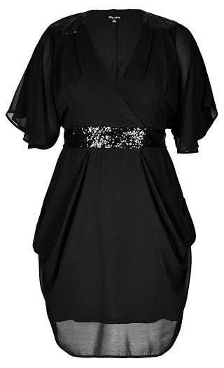 Sequin Wrap Dress - black