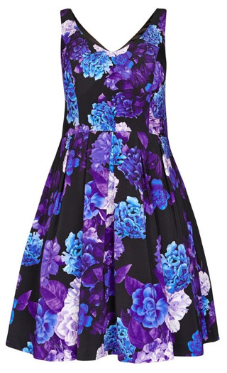 Hydrangea Fit & Flare Dress - black