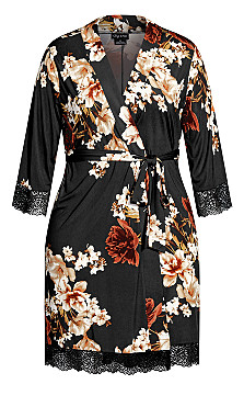 Cinnamon Floral Robe - black