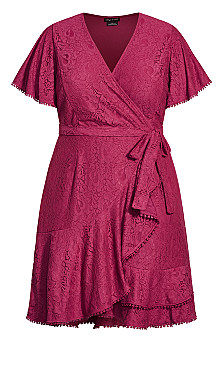 Sweet Love Lace Dress - magenta