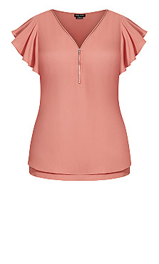 Zip Fling Top - guava