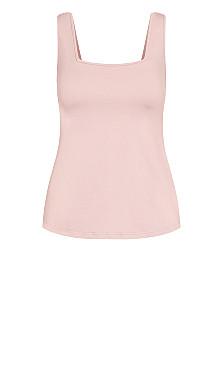 Square Neck Cami - dusty rose