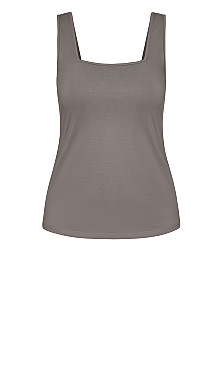 Square Neck Cami - slate