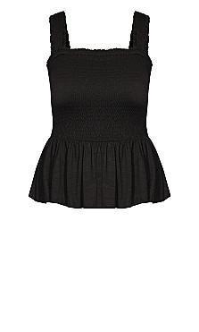 Shirred Love Top - black