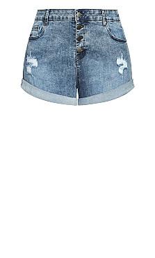 Denim Cuff Short - grey