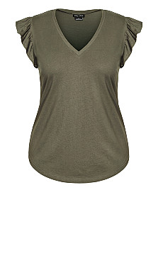 Leisure Frill Top - khaki