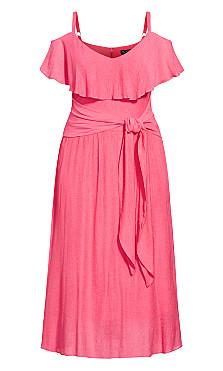 Romantic Tie Dress - fuchsia