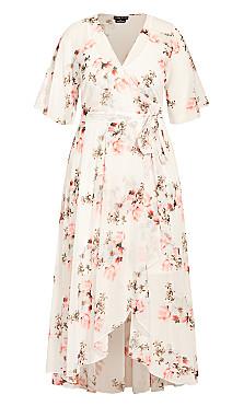 Wrap Lotus Maxi Dress - ivory