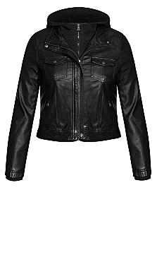 Layered Hoodie Jacket - black