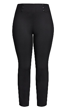 Sleek Button Pant - black