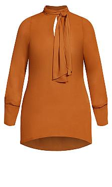 Neck Tie Tunic - caramel