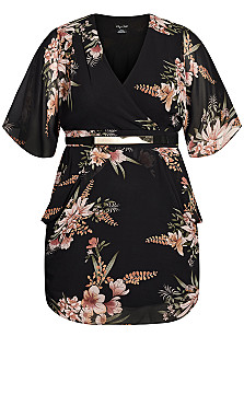 Sweet Floral Wrap Dress - black