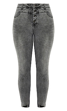 Harley Exposed Button Jean - steel grey