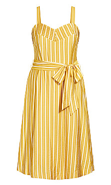 Sun Stripe Dress - mustard