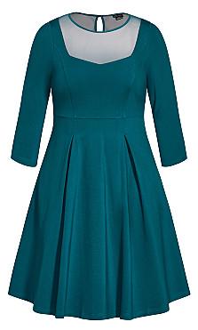 Cute Mesh Dress - teal