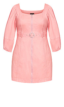 Cool Denim Dress - pink