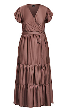 Flutter Away Maxi Dress - mocha