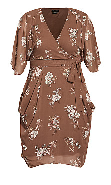 Imperial Wrap Dress - brown