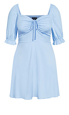 Puff Charm Dress - sky blue