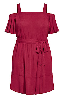 Paradise Dress - rhubarb