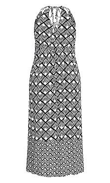 Geo Maxi Dress - black