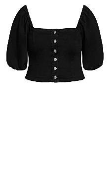 Denim Puff Shirt - black wash