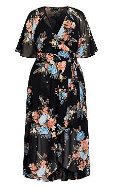 Poised Bloom Maxi Dress - black