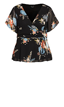 Poised Bloom Top - black